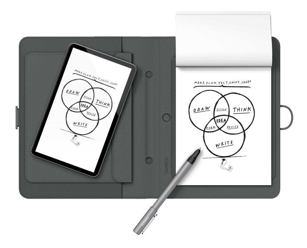 Auf einem gewöhnlichen Block kann man sich austoben, die Technik des Spark bringt die Inhalte dann in Smartphone oder Tablet