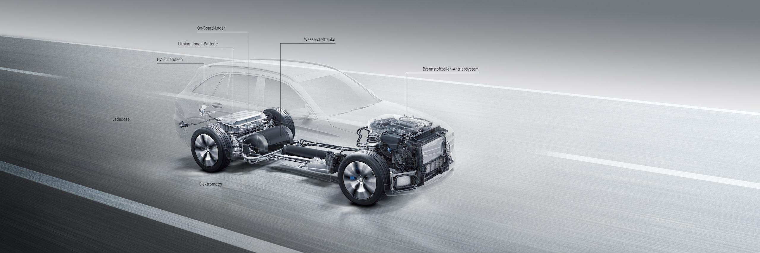 Die kompakte Brennstoffzelle passt in den Motorraum, im Heck unterstützt ein 9 kWh fassender Lithium-Ionen-Akku den GLC F-Cell